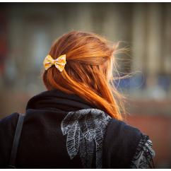 Les Nœuds-Nœuds - Barrette nœud-papillon imprimée jaune - Barrette