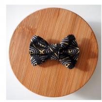 Les Nœuds-Nœuds - Barrette nœud-papillon imprimée noir et jaune - Barrette