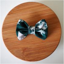 Les Nœuds-Nœuds - Barrette nœud-papillon imprimée vert motif noël - Barrette
