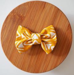 Les Nœuds-Nœuds - Barrette Nœud papillon jaune moutarde - Barrette