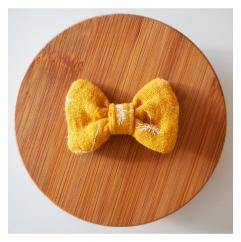 Les Nœuds-Nœuds - Barrette nœud-papillon jaune moutarde imprimée pissenlits - Barrette