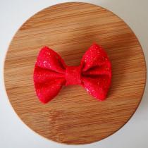 Les Nœuds-Nœuds - Barrette nœud-papillon rouge à paillettes - Barrette