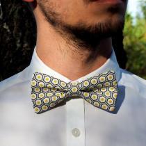 Les Nœuds-Nœuds - Nœud-papillon ajustable imprimé hexagones jaune - Noeud papillon