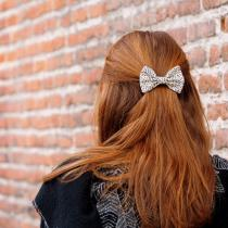 Les Nœuds-Nœuds - Pince à cheveux noeud-papillon imprimée feuillage beige - Barrette