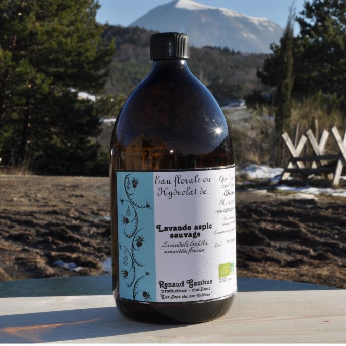 Les Sens de nos Vallées - Eau Florale / Hydrolat - Lavande aspic - 1 L - Hydrolat