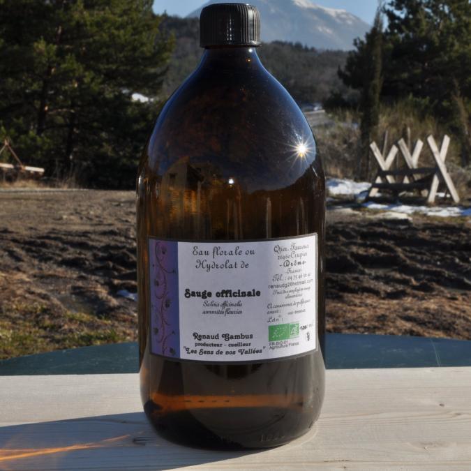 Les Sens de nos Vallées - Eau Florale / Hydrolat - Sauge officinale - 1 L - Hydrolat