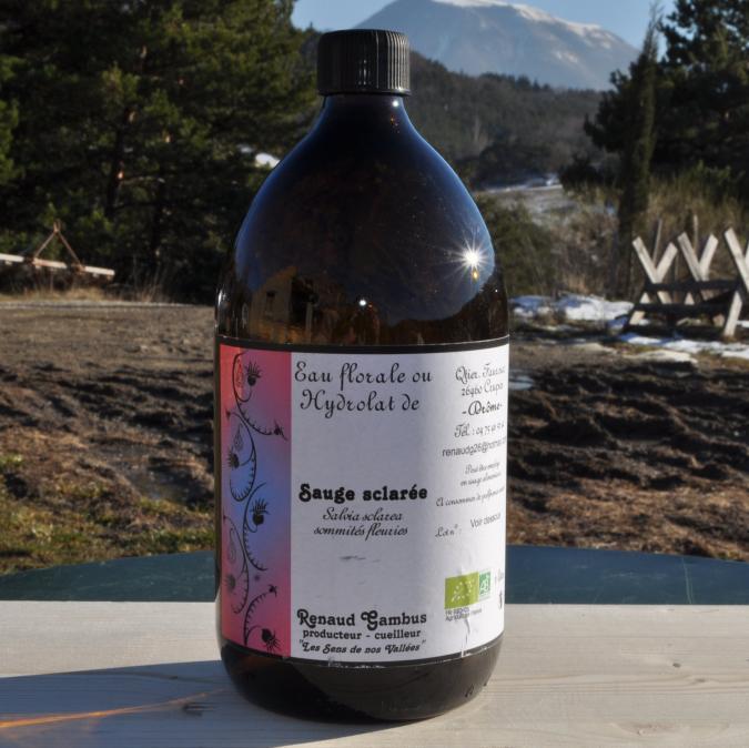 Les Sens de nos Vallées - Eau Florale / Hydrolat - Sauge sclarée - 1 L - Hydrolat