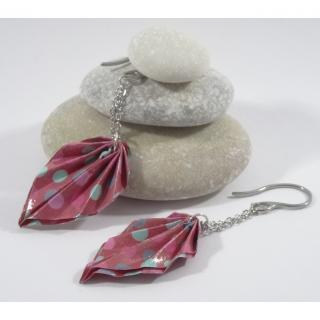 Line et les perles - Boucles Feuilles Origami fuchsia avec pois multicolores - Boucles d'oreille - Acier