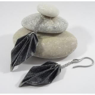 Line et les perles - Boucles Feuilles Origami noir pailleté - Boucles d'oreille - Acier