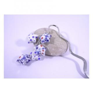 Line et les perles - Marque-Page Origami Constellation bleu et blanc avec fleurs et pois - Marque-page