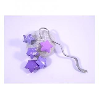 Line et les perles - Marque-Page Origami Constellation violet avec trèfles et étoiles - Marque-page