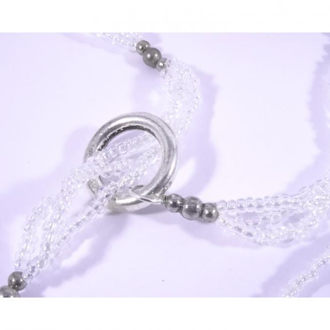 Line et les perles - Sautoir Légende d'Automne argent et turquoise avec fleurs multicolores - Collier - papier