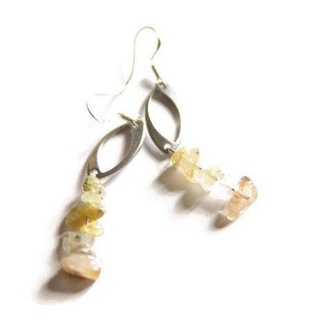 LithoGaia - Boucles d'oreilles Citrine - Boucles d'oreille - argent