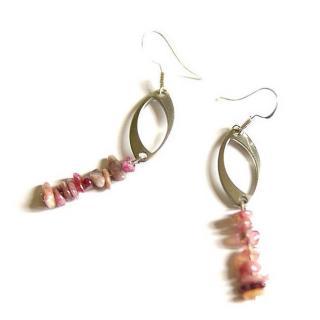 LithoGaia - Boucles d'oreilles Tourmaline Rose - Boucles d'oreille - argent