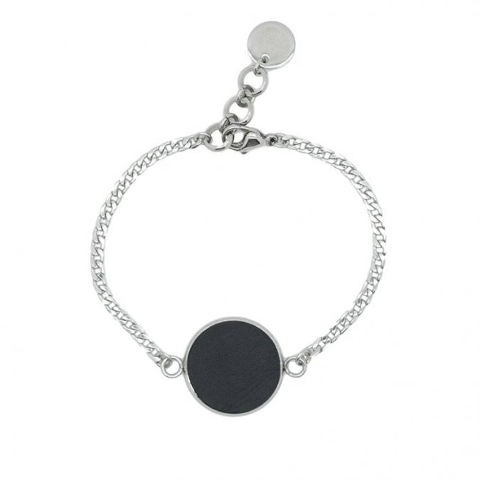 Lo's Bijoux - Bracelet fin motif rond en cuir Khepri - Bracelet - Cuir