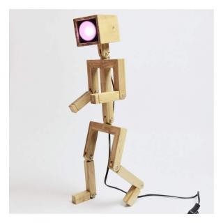 Lune et Animo - JAFFU Lampe design bonhomme en bois - Lampe de table - ampoule(s)