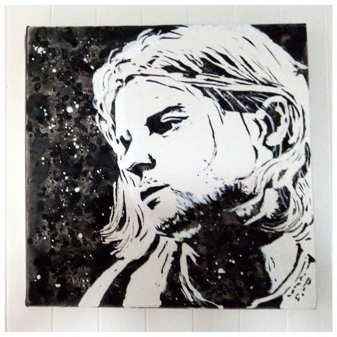 Lune et Animo - Kurt Cobain, Portrait carré, noir et blanc, Acrylique, décoration murale - décoration murale