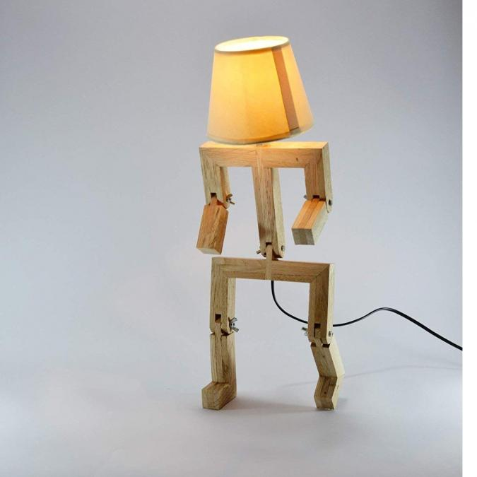 Lune et Animo - Lampe bonhomme articulée design en bois de chêne HAT - Lampe de chevet - ampoule(s)