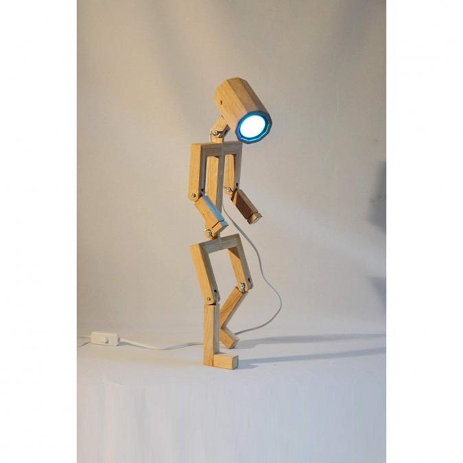 Lune et Animo - Lampe design 'Anloefu' articulée en bois de chêne recyclé - Lampe de chevet - ampoule(s)