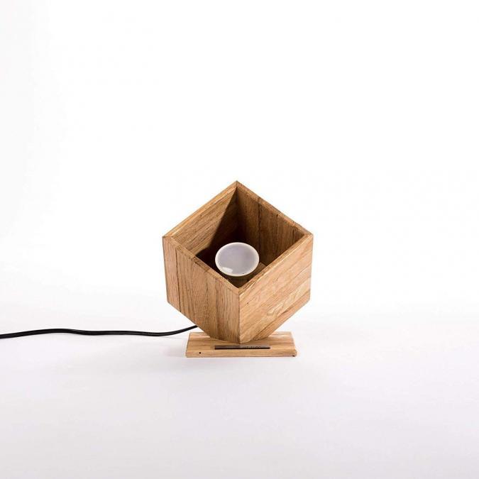 Lune et Animo - Petite lampe spot design en bois 'Dodrogo' - Lampe de chevet - ampoule(s)