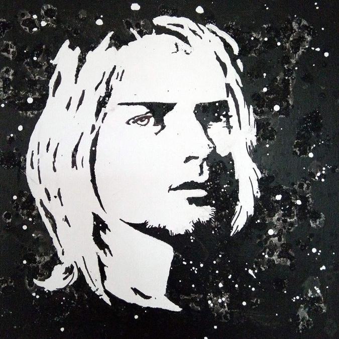 Lune et Animo - Portrait noir et blanc, Kurt Cobain, Acrylique, décoration murale - décoration murale