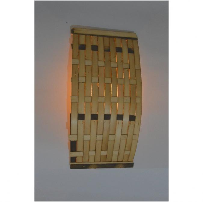 Lune et Animo - TLITIA Applique murale en bois de récup. Style ethnique, brut Grande applique murale en bois, tressée lames - Applique murale - ampoule(s)