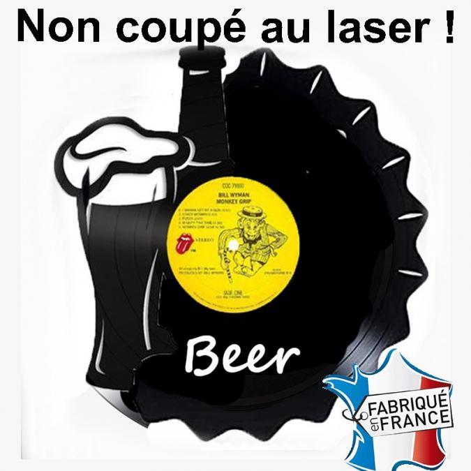 Lvshopping.fr disques vinyles horloge - Décoration murale, horloge ou miroir vintage disque vinyle découpé 33T 100% fait main modèle bière, beer, brasseur - Horloge -