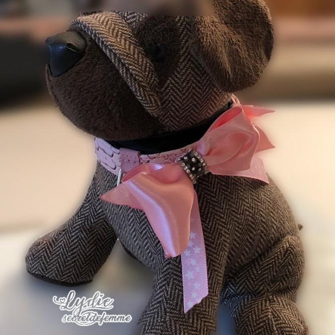 Lydie Secret de femme - Collier 2 en 1 rose - Collier pour chien