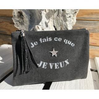 """Lydie Secret de femme - Petite pochette noir """"je fais ce que je veux"""" - Pochette (maroquinerie) - Noir"""