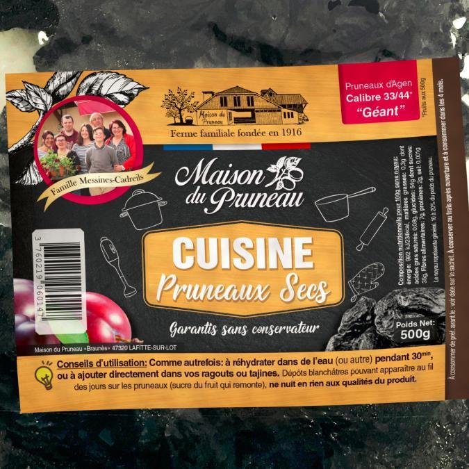 Maison du Pruneau - Ferme familiale fondée en 1916 - Cuisine - Pruneaux d'Agen Secs 500g - 33/44 (Géant) - Fruits secs - 500g