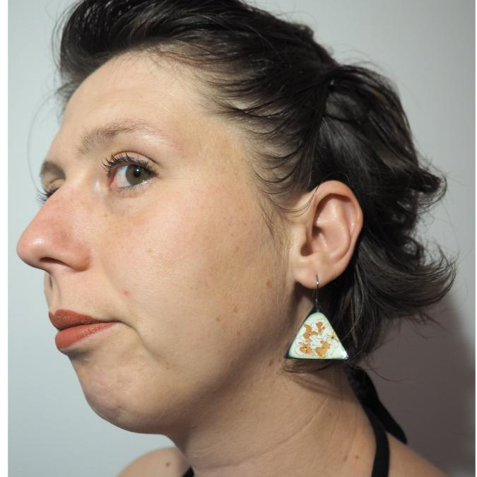 """Marion Freyre - """"C'est le printemps"""" - Boucles d'oreilles pièces unique, en émail sur cuivre - Boucles d'oreille - Email"""