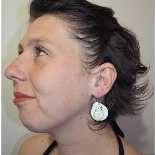 """Marion Freyre - """"Cui Cui"""" - Boucles d'oreilles oiseaux, pièces unique, en émail sur cuivre - Boucles d'oreille - Email"""
