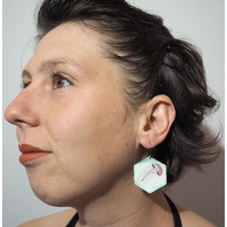 """Marion Freyre - """"La méduse sans radeau"""" - Boucles d'oreilles en émail sur cuivre - Boucles d'oreille - Email"""
