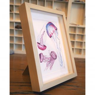 """Marion Freyre - """"La méduse sans radeau"""", reprographie encadrée de dessin original - Dessin, illustration -"""