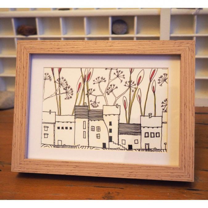 """Marion Freyre - """"La ville à la campagne"""", reprographie encadrée de dessin original - Dessin, illustration -"""