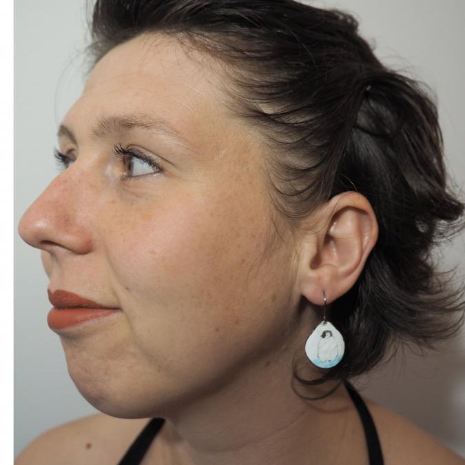"""Marion Freyre - """"Sur la banquise"""" - Boucles d'oreilles en émail sur cuivre - Boucles d'oreille - Email"""