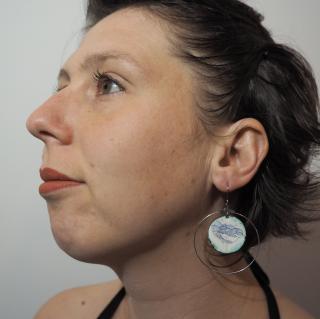 """Marion Freyre - """"vagues à l'âme"""" - Boucles d'oreilles en émail sur cuivre,   pièces unique, ambiance marine ! - Boucles d'oreille - Email"""
