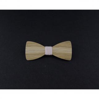 MARQUETERIE-49 - Barrette noeud papillon bois chêne et fil rose pâle - Barrette