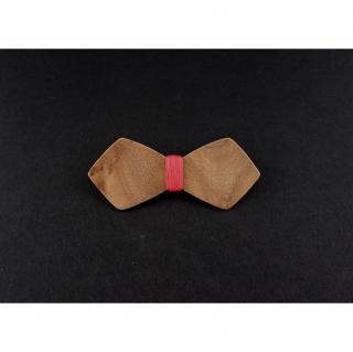 MARQUETERIE-49 - Barrette noeud papillon bois loupe d'orme et fil rouge - Barrette