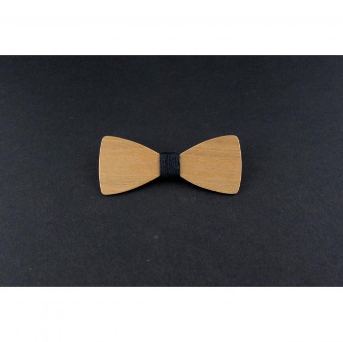 MARQUETERIE-49 - Barrette noeud papillon bois orangé merisier et fil noir - Barrette