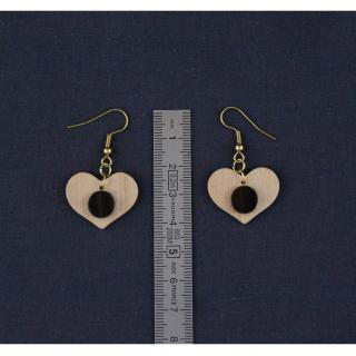 MARQUETERIE-49 - Boucles d'oreille coeur en bois bicolores - Boucles d'oreille - bois