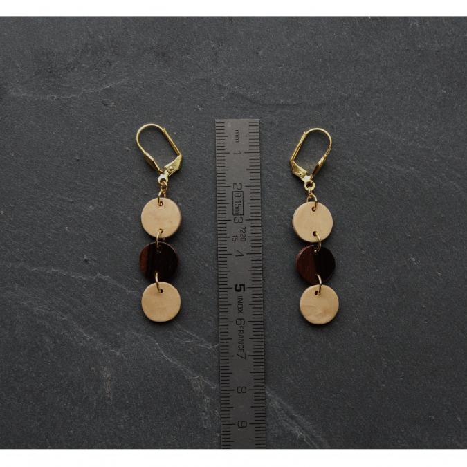 MARQUETERIE-49 - Boucles d'oreille trois ronds en bois - Boucles d'oreille - bois