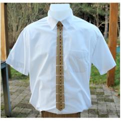 MARQUETERIE-49 - Cravate en bois et filet de marqueterie - Cravate - Beige