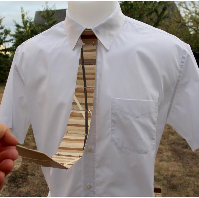 MARQUETERIE-49 - Cravate en bois patchwork mosaïque de différents bois - Cravate - Beige