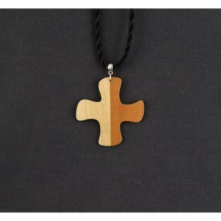 MARQUETERIE-49 - Croix d'aube bicolore en bois - croix en bois