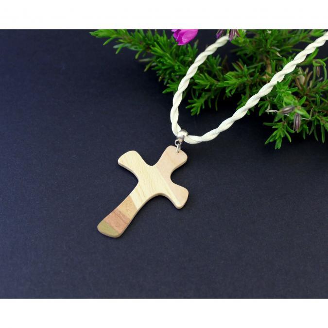 MARQUETERIE-49 - Croix d'aube mosaïque de bois - croix en bois