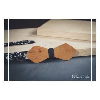 MARQUETERIE-49 - Noeud papillon bois d'IF précieux et insolite - Noeud papillon
