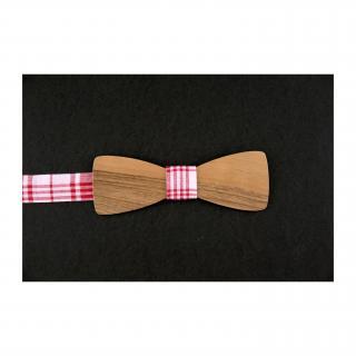 MARQUETERIE-49 - Noeud papillon bois noyer tissu vichy rouge - Noeud papillon