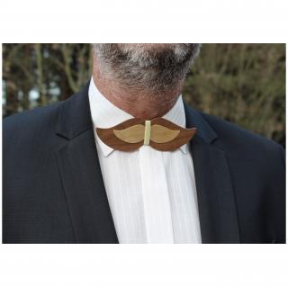 MARQUETERIE-49 - Noeud papillon moustache en bois - Noeud papillon
