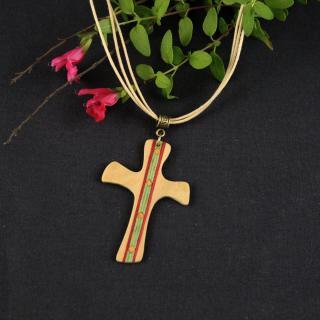 MARQUETERIE-49 - Pendentif petite croix d'aube en marqueterie bois - croix en bois